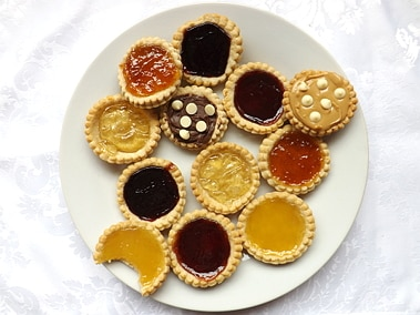 jam tarts on a white plate