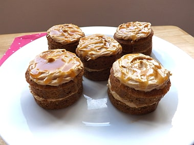 mini coffee cakes with a salted caramel drizzle