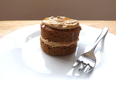 a mini coffee cake with a cake folk