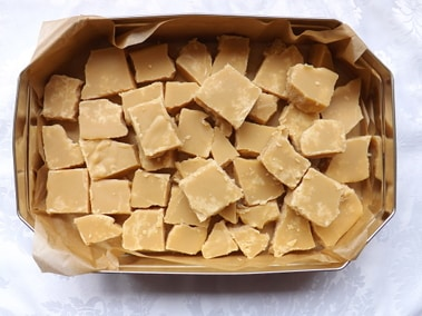 scottish tablet cut up and in a tin