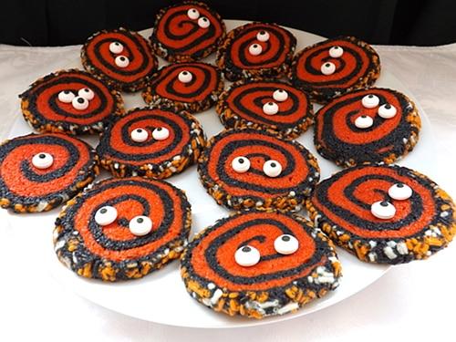Halloween spiral cookies