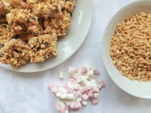 white chocolate and peanut butter krispie treats