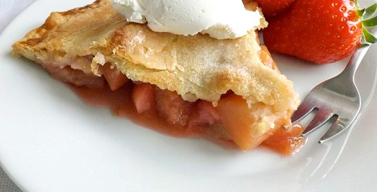 Rhubarb Apple and Strawberry Pie