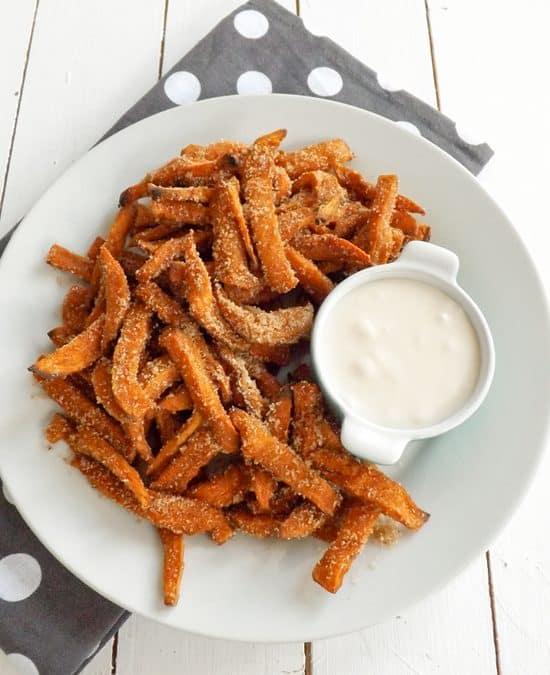 Cinnamon Sugar Coated Sweet Potato Fries
