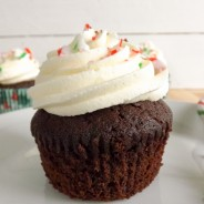 Candy Cane Chocolate Cupcakes with Peppermint Frosting