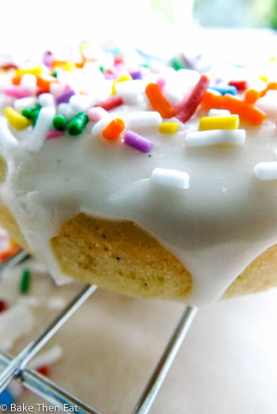 Triple Vanilla Baked Donuts With Rainbow Sprinkles