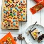 Insane Chocolate and Peanut Butter Sheet Cake | BakeThenEat.com