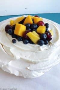 Vanilla Bean Cream Cheese Pavlova with Fresh Fruit