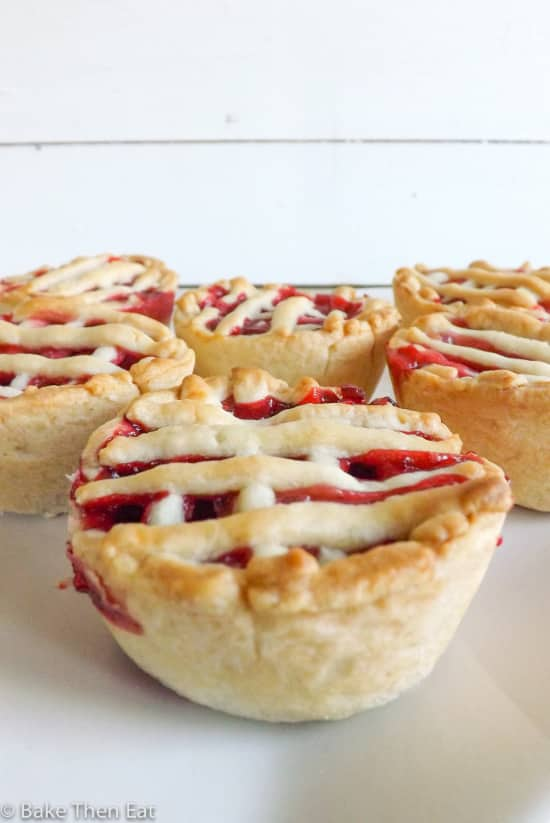 mini apple and raspberry pies