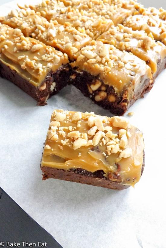 Salty & Sweet Snickers Brownies