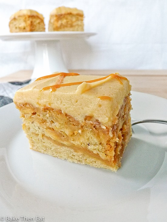 Banana Maple Cake with Salted Caramel Swirl
