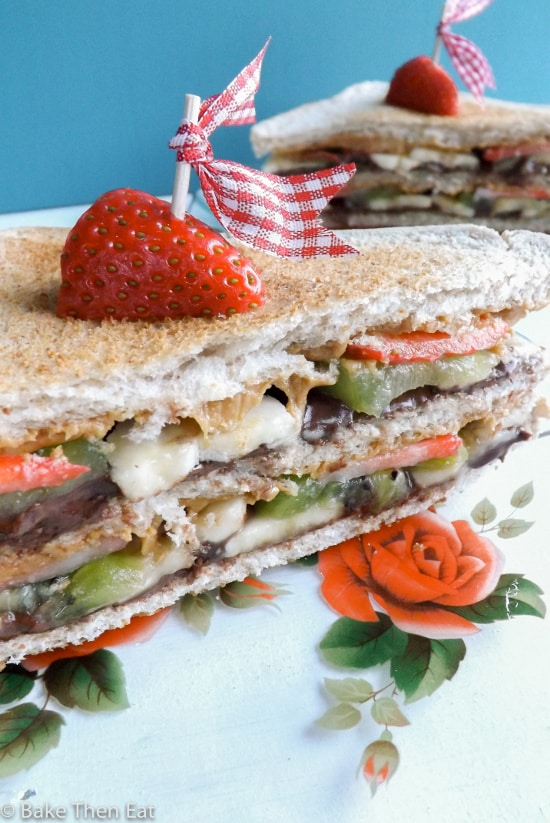 Nutella and Peanut Butter Club Sandwich