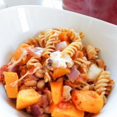 Vegetarian Butternut Squash Tomato Pasta Bake