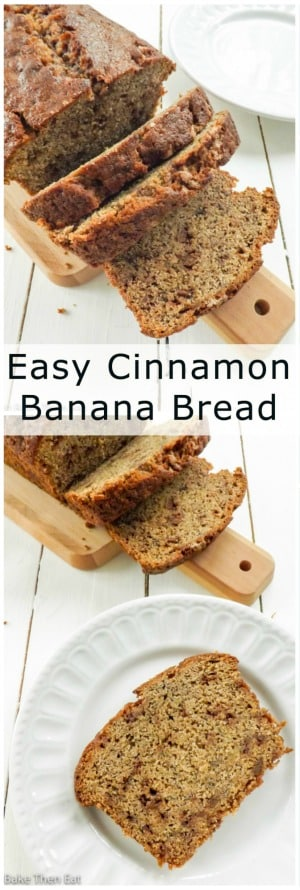 Easy Cinnamon Banana Bread Loaf | BakeThenEat.com