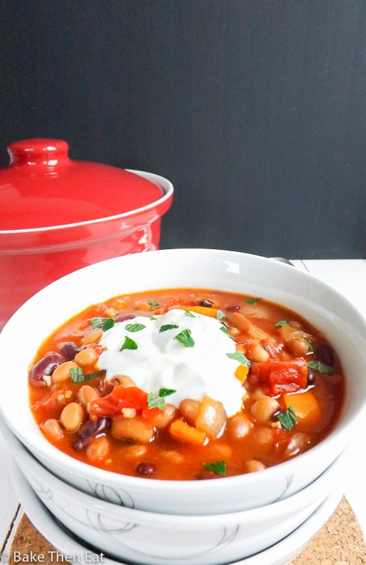 Slow Cooker Vegetarian Spicy Three Bean Stew