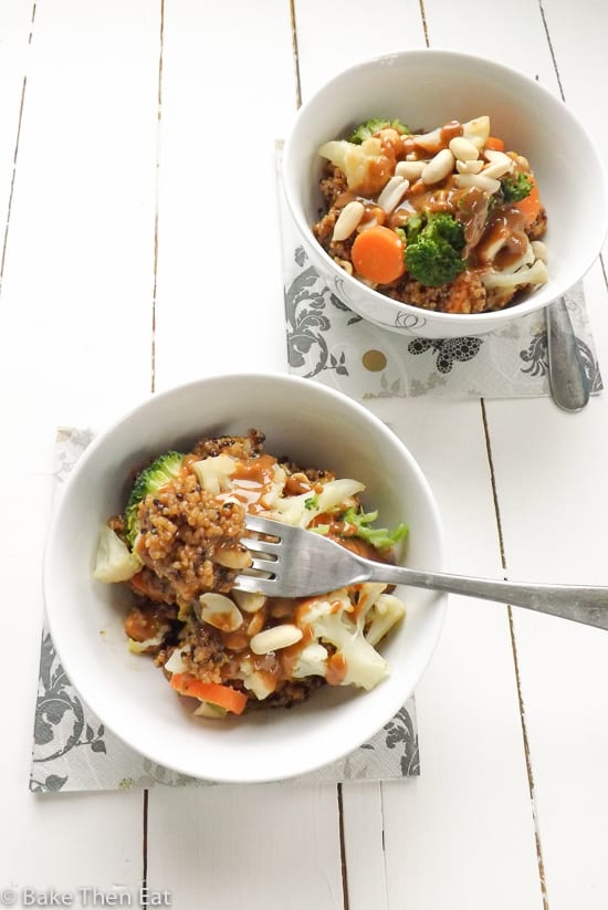 Peanut Butter Sauce Quinoa Power Bowl
