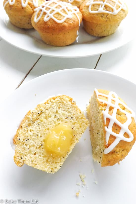 Lemon Poppy Seed Muffins with Lemon Curd Filling | BakeThenEat.com