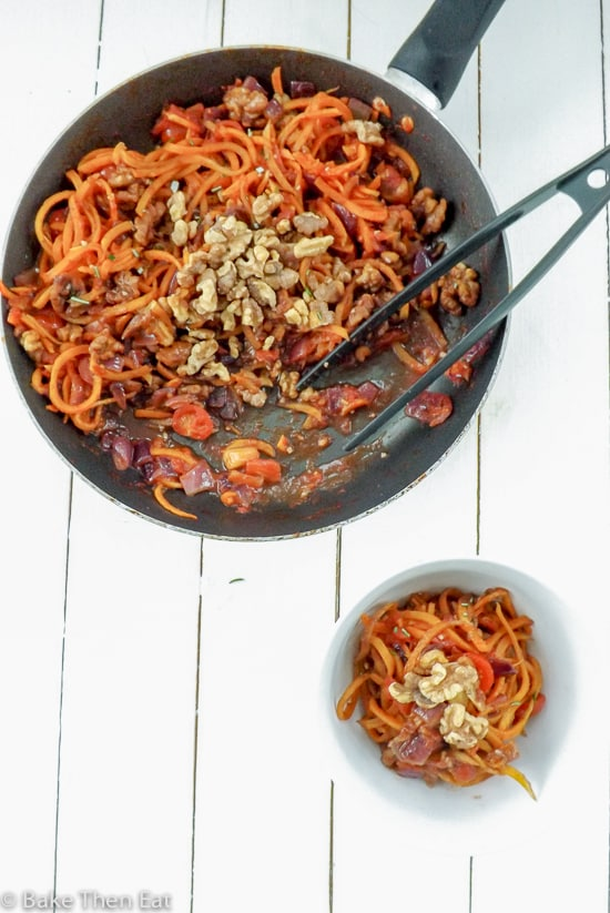 Butternut Squash Noodle and Walnut Stir Fry {Vegan + GF} | BakeThenEat.com