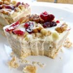 No Bake White Chocolate Cranberry Pecan Bars | BakeThenEat.com