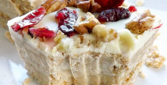 No Bake White Chocolate Cranberry Pecan Bars