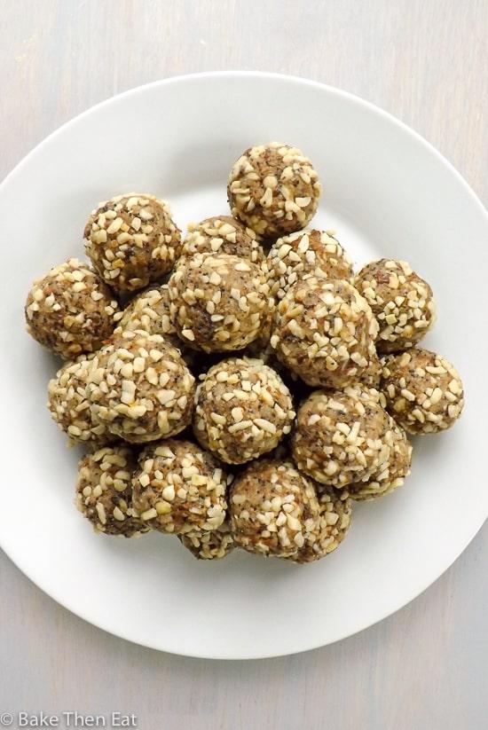 Healthy Lemon Poppy Seed Nutty Date Energy Bites - BakeThenEat.com