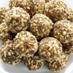 Plate of Healthy Lemon Poppy Seed Nutty Date Energy Bites | BakeThenEat.com