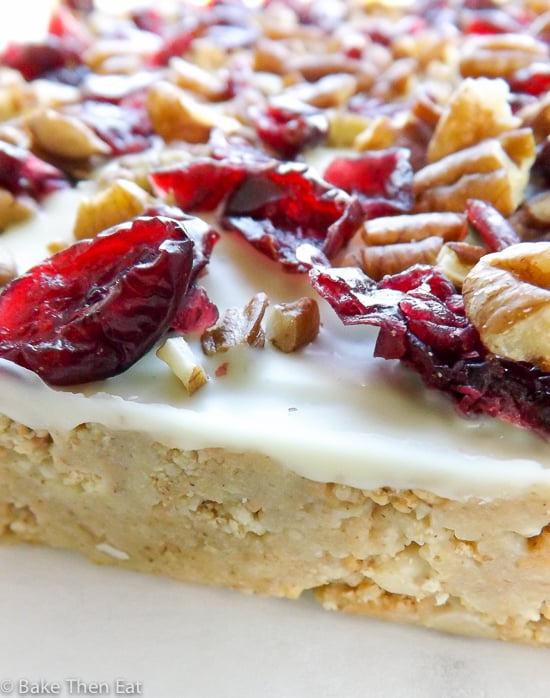 No Bake White Chocolate Cranberry Pecan Bars | BakeThenEat.com
