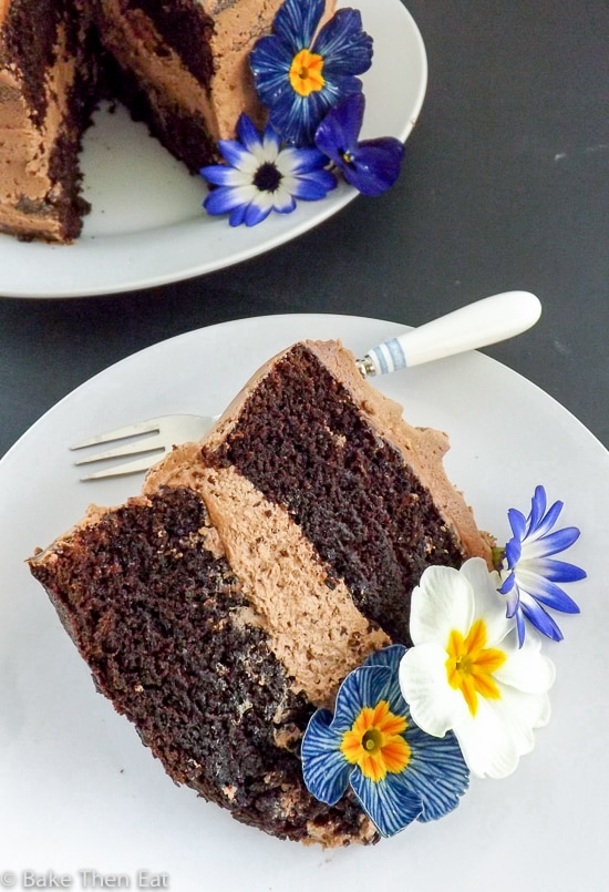 A slice of Chocolate Fudge Cake with Nutella Frosting | BakeThenEat.com