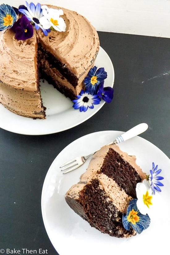 Chocolate Fudge Cake with Nutella Frosting slice | BakeThenEat.com