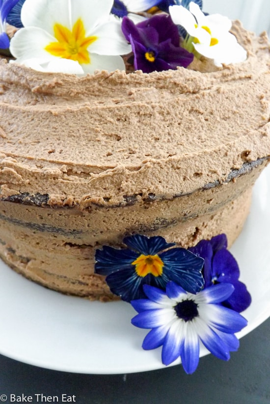 The side of Chocolate Fudge Cake with Nutella Frosting | BakeThenEat.com