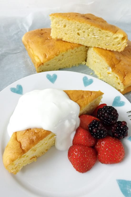 Light Airy Orange Lemon Snack Cake Served With Fruit & Yogurt | BakeThenEat.com