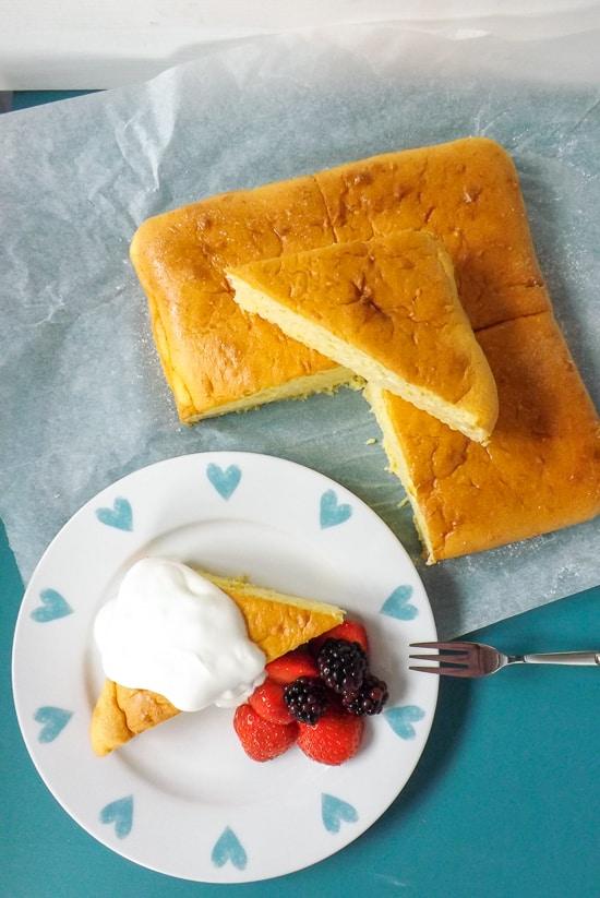 Light Airy Orange Lemon Snack Cake Served With Fat Free Greek Yogurt and Berries   BakeThenEat.com