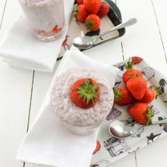 Protein Packed Strawberry Chai Seed Pudding | BakeThenEat.com