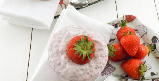 Protein Packed Strawberry Chai Seed Pudding