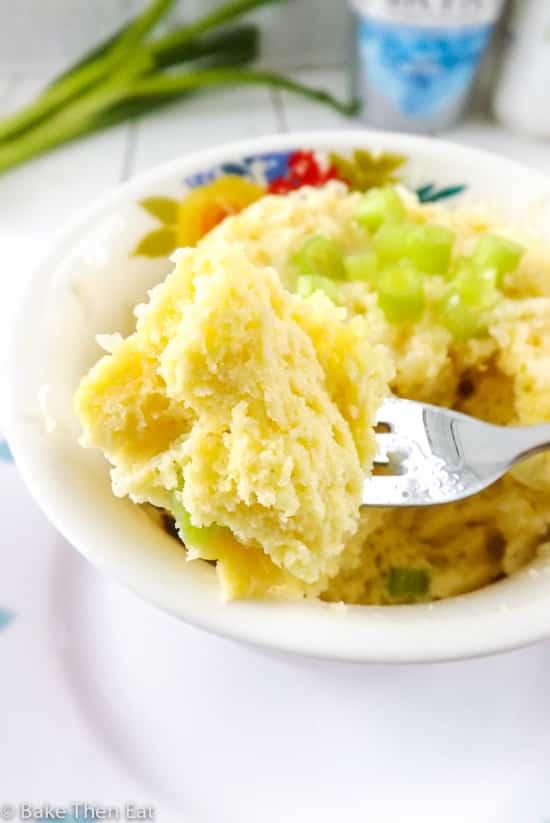Tucking into a Gluten Free Microwaved Cheesy Onion Breakfast Savoury   BakeThenEat.com
