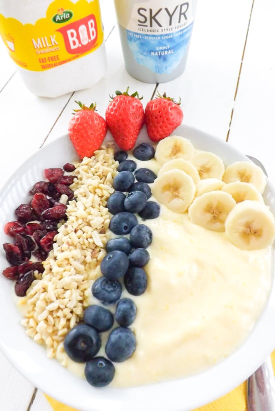 Mango Yogurt Smoothie Bowl with Arla Products | BakeThenEat.com