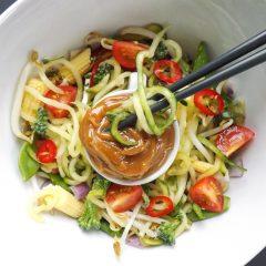 Peanut Butter Sauce Zucchini Noodle Salad