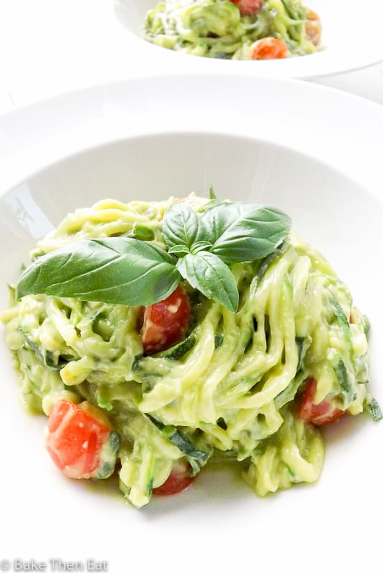Creamy Avocado Courgette Zoodles | BakeThenEat.com