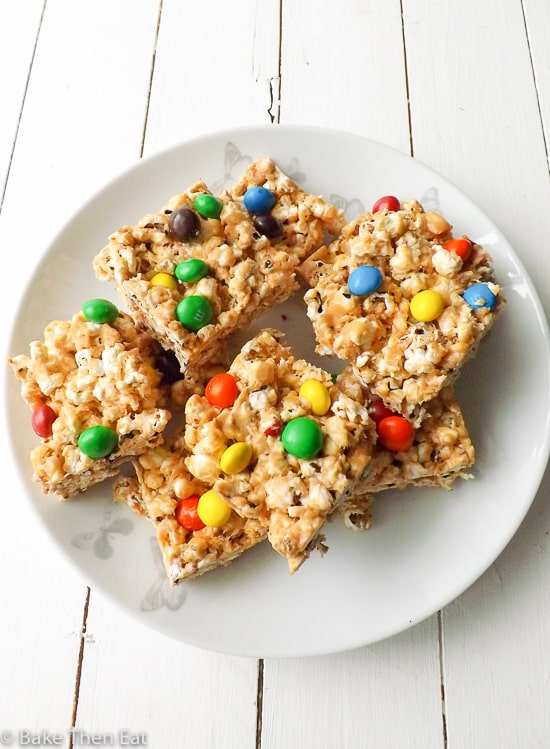 Peanut Butter Popcorn Squares | BakeThenEat.com