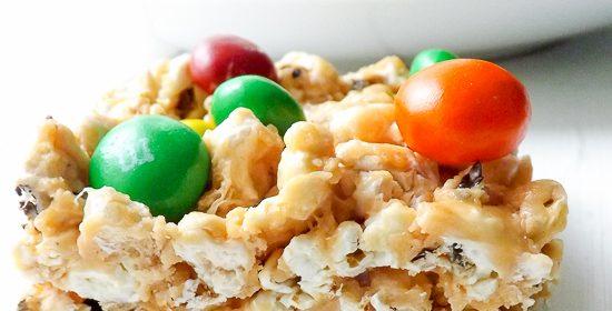 No Bake Peanut Butter Popcorn Squares