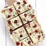 Ginger White Chocolate Macadamia Cranberry Crunch Squares | BakeThenEat.com