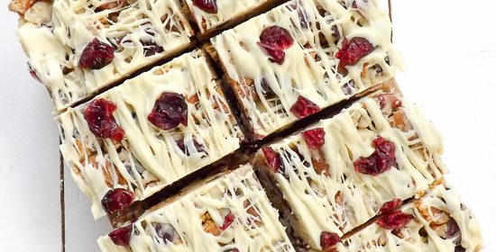 Ginger White Chocolate Macadamia Cranberry Crunch Squares