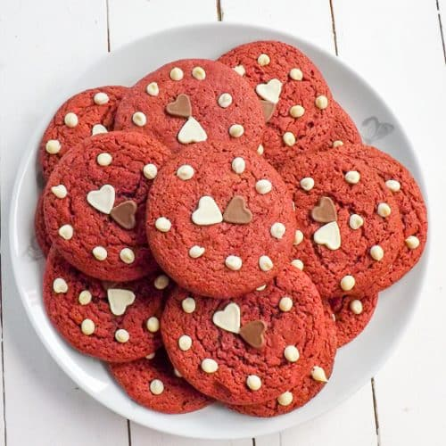 Red Velvet Cake Batter Valentines Cookies | BakeThenEat.com