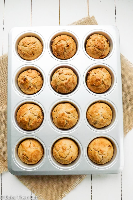 Easy Apple Sultana Breakfast Muffins | BakeThenEat.com