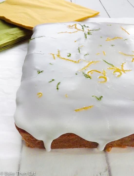 Simple Lemon and Lime Snack Cake | BakeThenEat.com