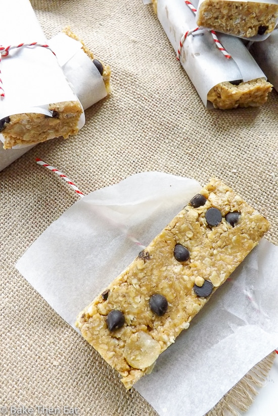 No Bake Peanut Butter Ginger Chocolate Chip Granola Bars | BakeThenEat.com