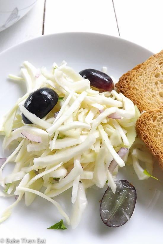 Sweet Crispy Cabbage Salad with Lime Dressing   BakeThenEat.com