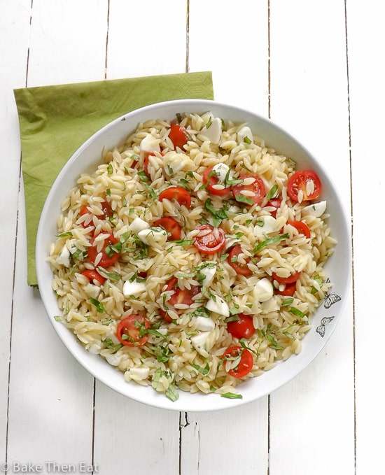 Quick & Simple Caprese Orzo Pasta Salad | BakeThenEat.com