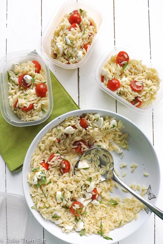 Caprese Orzo Pasta Salad | BakeThenEat.com