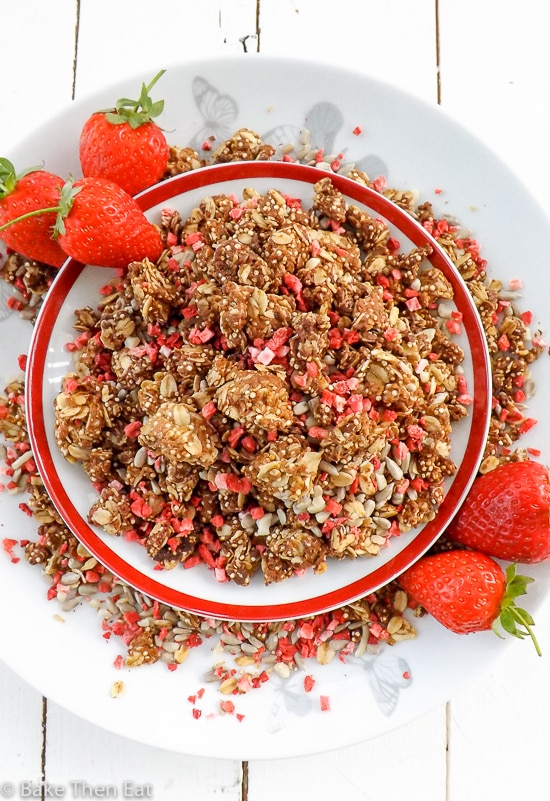 Homemade Peanut Butter Strawberry Granola | BakeThenEat.com